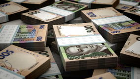 Stack of Ukrainian Hryvnia stock footage