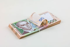 Stack of Ukrainian money Stock Photo