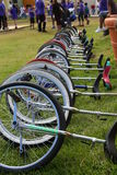 Stack of unicycles. Multiples unicycles on the ground waiting for the show Royalty Free Stock Images