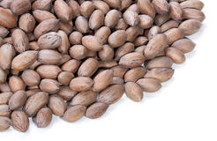 Stack of Unshelled Pecan Nuts with Copy Space Stock Photos