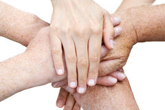 Stack up of hands Stock Photography