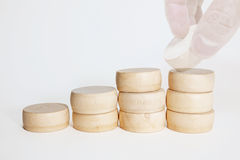 Stack up wooden block. On top in concept of making the new record Stock Images