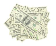 Stack of US $100 bills. In isolated white background Stock Images