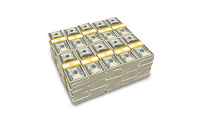Stack of US 100 dollar bills. On white background royalty free stock photos
