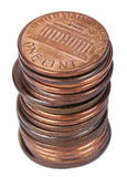 Isolated 1 US Cent Coin Stack Royalty Free Stock Photo