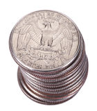 Isolated Quarter Dollar Coin Stack Stock Photo