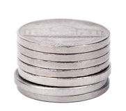 Isolated Nickels Stack Stock Images