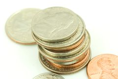 Stack of US Coins Royalty Free Stock Photography