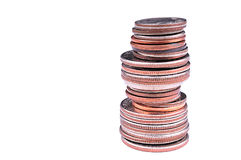 Stack of us coins Royalty Free Stock Photos