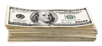 Isolated 100 US$ Bills Stack Royalty Free Stock Image