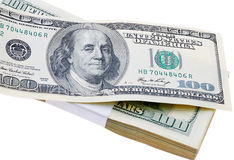 Stack of US One hundred dollar bills isolated. Stock Photography