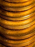 Stack of US Treasury Gold Eagle one ounce coins. Stack of golden coins using US Treasury issue Gold Eagle one ounce pure gold coin stock photography