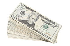 Stack of US Twenty Dollar Bills Currency Royalty Free Stock Photo