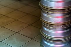 Stack of used alloy wheels. Close up stack of used alloy car wheels Royalty Free Stock Photo