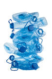 Stack of used  blue plastic bottles Royalty Free Stock Images