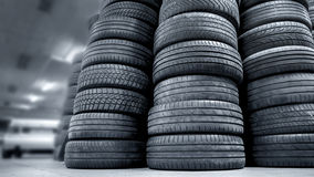 Stack of used car tires Royalty Free Stock Photos