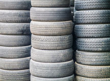 Stack of used car tires Royalty Free Stock Images