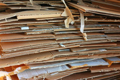 Stack of used cardboards. Horizontal Stock Image