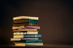 Stack of Used Old Books. In the School Library Stock Image