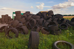 Stack of used tyres Royalty Free Stock Image