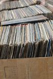 Stack of used vinyl records in covers put on sale Stock Images