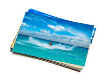 Stack of vacation photos isolated Stock Image