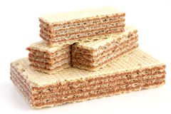 Stack of vanilla wafer biscuits Royalty Free Stock Photos