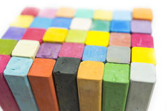 Stack of variety colors of chalk pastel. Close up Stock Images