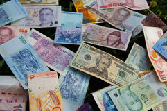 Stack of various banknotes Stock Images