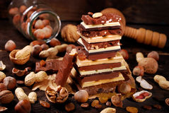 Stack of various chocolate bars Royalty Free Stock Image