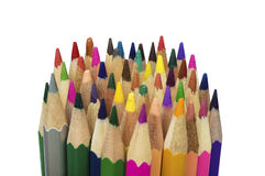 Stack of various colored pencils. Isolated over white Stock Photo