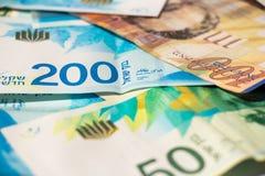 Stack of various of israeli shekel money bills Stock Photography
