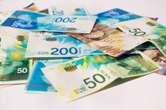 Stack of various of israeli shekel money bills Royalty Free Stock Photography