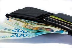 Stack of various of israeli shekel money bills in open black lea Stock Photos