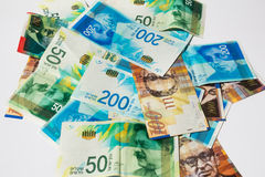 Stack of various of israeli shekel money bills - Top View.  royalty free stock photo
