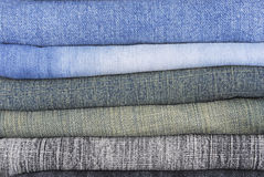 Stack of various jeans Royalty Free Stock Images