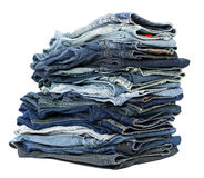 Isolated Jeans Stack Stock Photo