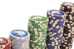 Stack of various poker chips Stock Photos