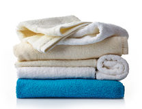 Stack of various spa towels Royalty Free Stock Photos