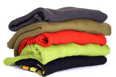 Stack of various sweaters Royalty Free Stock Image