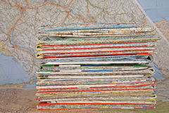 Stack of various travel maps Stock Photos