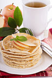 Stack of vegan pancakes with almond milk Royalty Free Stock Photo