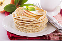 Stack of vegan pancakes with almond milk Royalty Free Stock Photography
