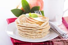 Stack of vegan pancakes with almond milk Stock Photos