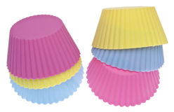 Stack of Vibrant Cupcake Wrappers. Isolated on White with a Clipping Path Stock Image