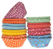 Stack of Vibrant Cupcake Wrappers Stock Photos