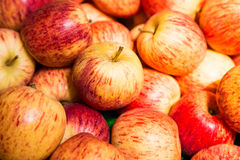 Stack of vibrant red apples Stock Images
