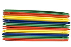 Stack of Vibrantly Colored Plastic File Folders Royalty Free Stock Photography