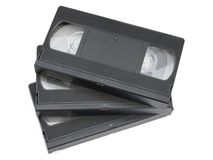 Stack of video cassettes Stock Photo