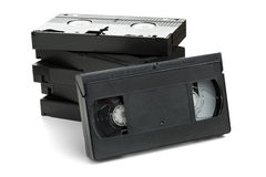 Stack of video home system movie cassettes Stock Image